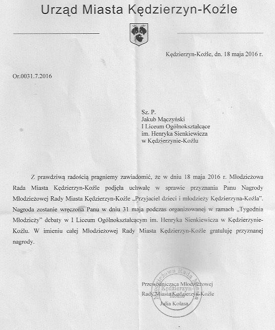 """Nagroda """"Przyjaciel dzieci i młodzieży Kędzierzyna-Koźla"""" dla nauczyciela I LO."""