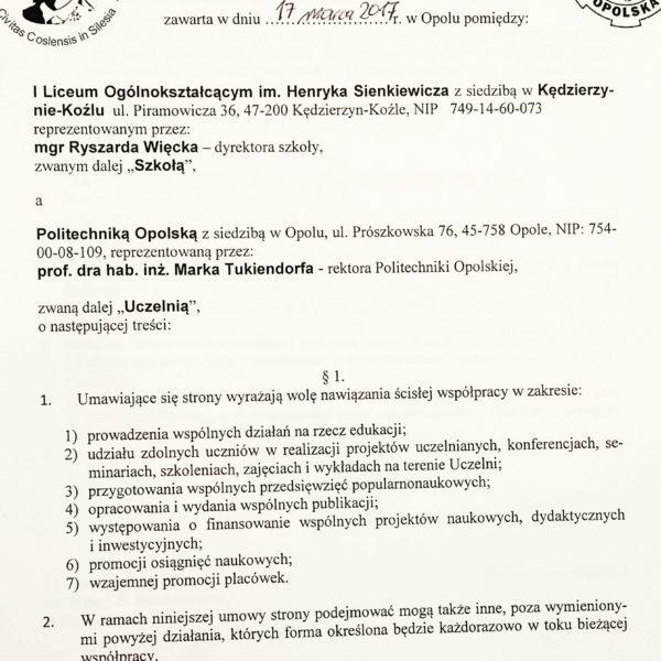 Umowa z Politechniką podpisana