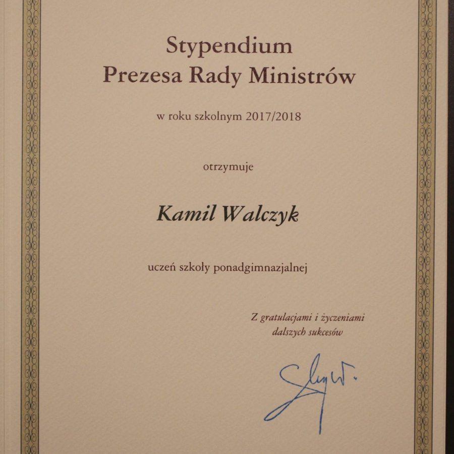 Kamil Walczyk z I LO stypendystąPrezesa Rady Ministrów