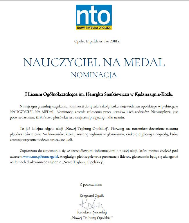 """Nominacja I LO w plebiscycie nto  """"Nauczyciel na medal"""" w kategorii Szkoła Roku"""