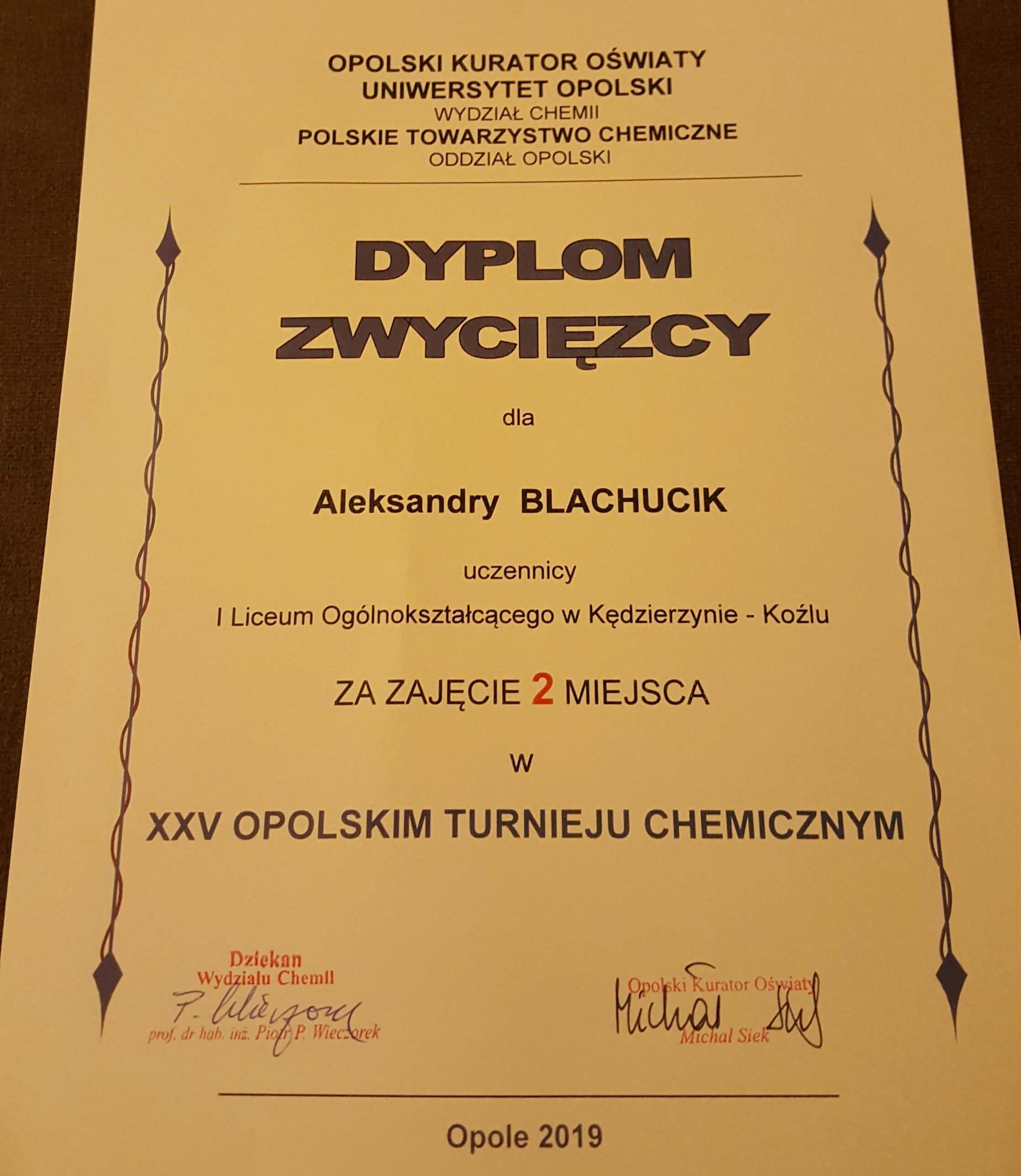 Uhonorowanie sukcesu Aleksandry Blachucik w Opolu