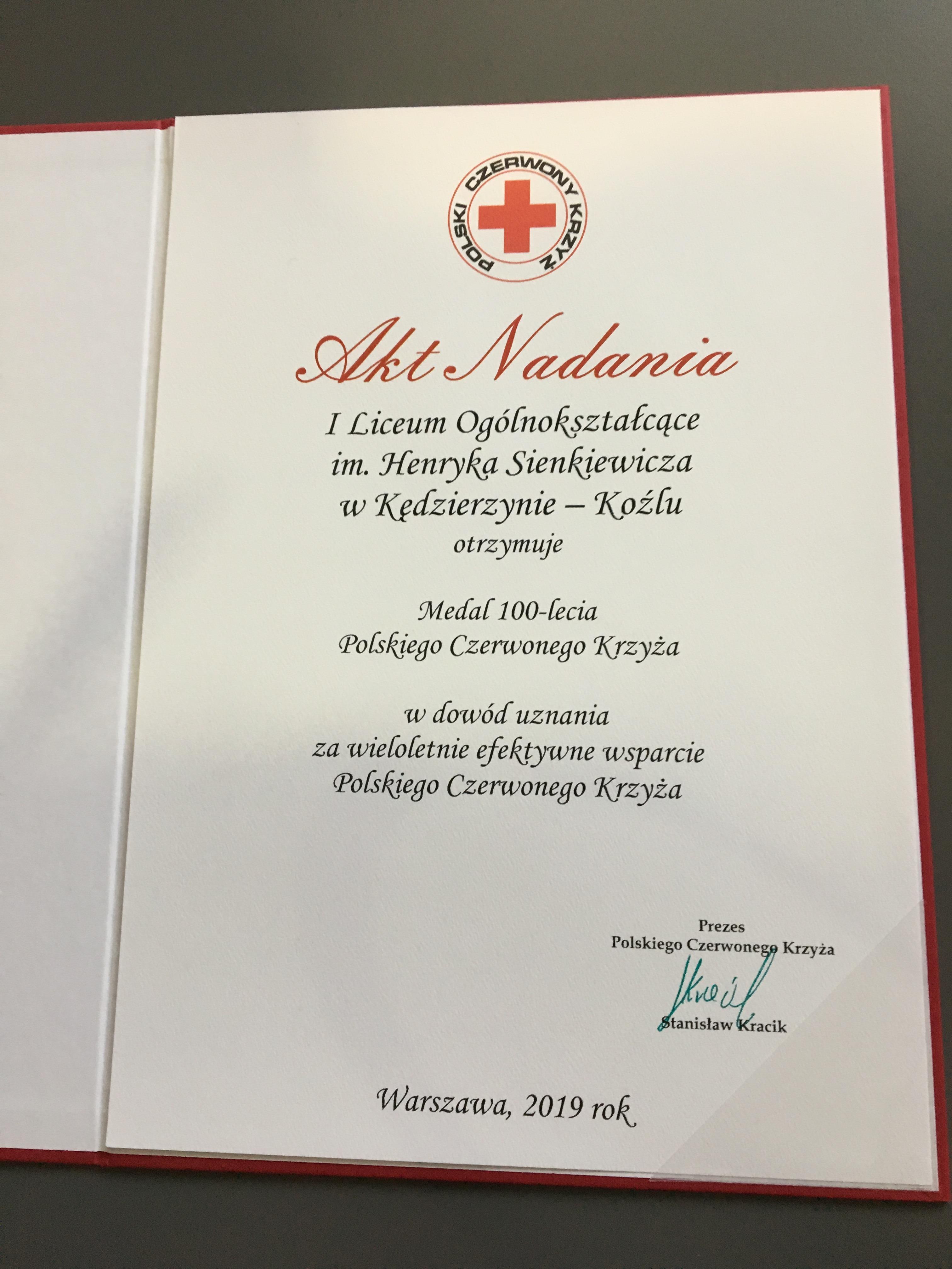 I LO uhonorowane Medalem Stulecia PCK