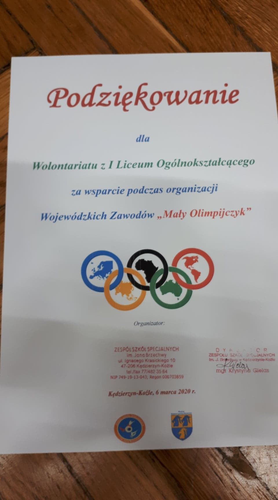 """Szkolny wolontariat na zawodach """"Mały Olimpijczyk"""", 06.03.2020"""