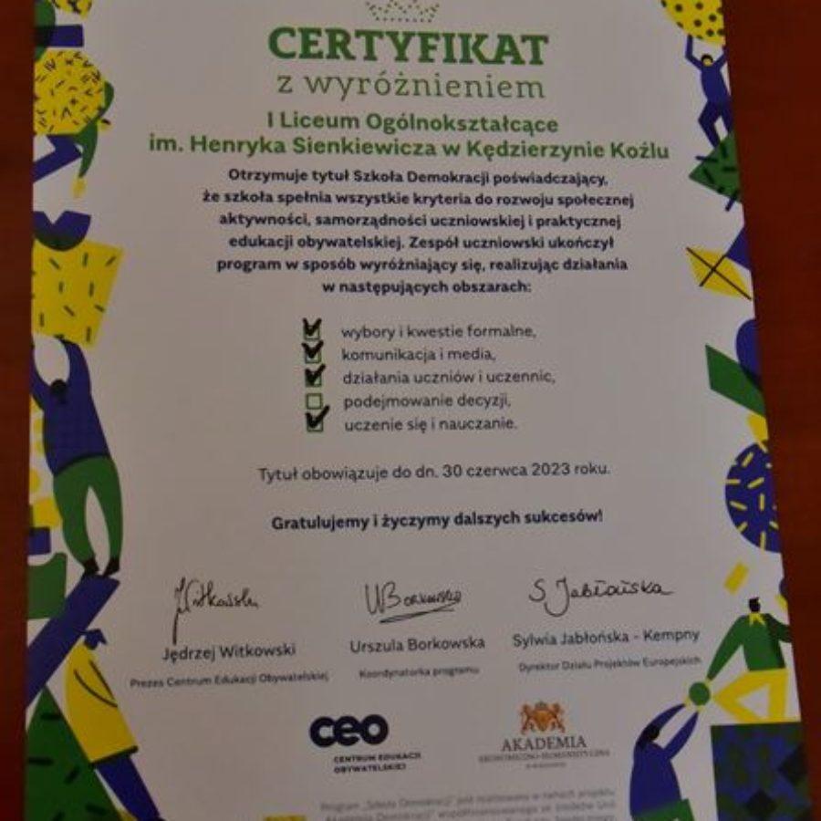 Certyfikat Szkoły Demokracji (z wyróżnieniem) dla I LO